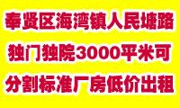 奉贤区海湾镇人民塘路6000平米可分割标准厂房低价出租