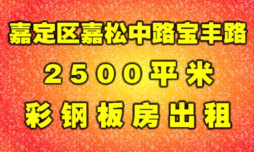 嘉定区黄渡镇宝丰东路6800平米标准厂房出租/1200平米起租