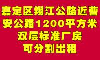 嘉定区翔江公路近曹安公路1200平方米双层标准厂房可分割出租