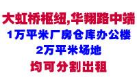 大虹桥枢纽华翔路中端1万平米厂房仓库办公楼、2万平米场地出租